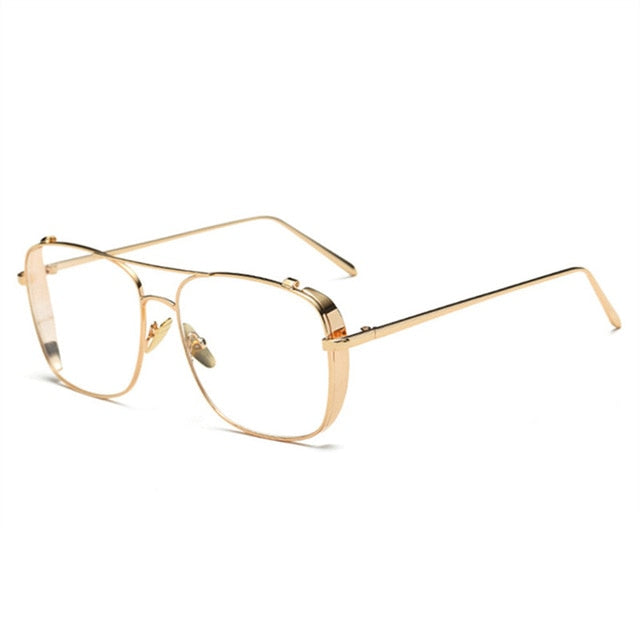 YOOSKE Oversized Alloy Eyeglasses Transparent HD Lens Sunglasses Women Optical Glasses Frames for Men Vintage Eyewear-novahe