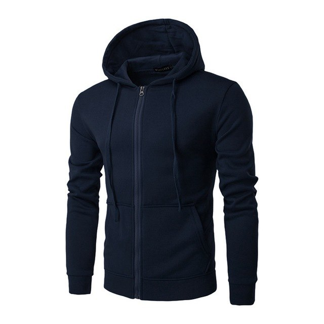New Men Plain Hoodies Fashion Fleece Zipper Up Jacket Sweatshirt Brand Mens Long Sleeve Pocket Pullover Plus Size 3XL Sudadera-novahe