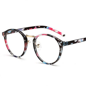 UVLAIK Optical Glasses Frame Boston Type Eyeglasses Myopia Frames Women Clear Transparent Glasses Women's Men's Flower Frames-novahe