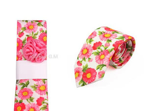 Mens Pink Peony Flowers Necktie Fashion Polyester Neck Ties
