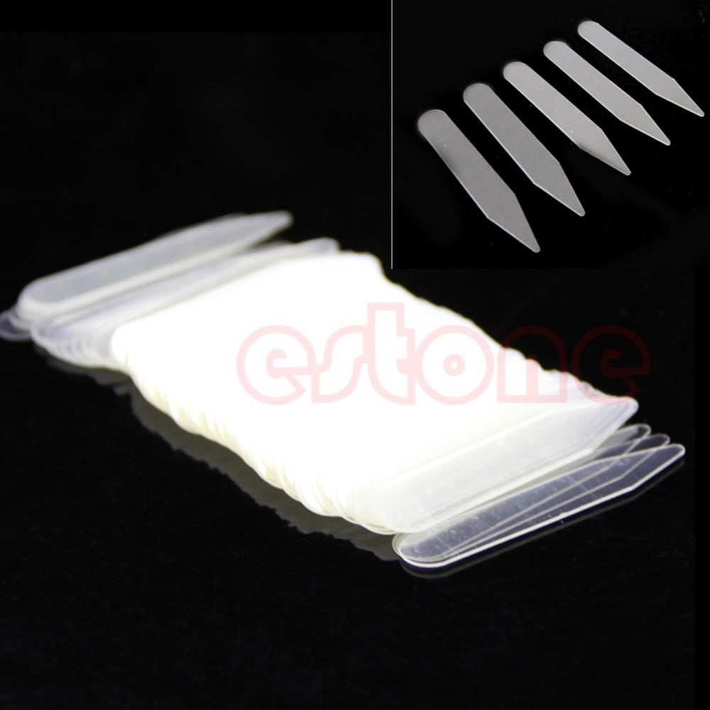 200Pcs PLASTIC Clear MEN FORMAL SHIRT COLLAR BONES STIFFENERS STAYS TABS-novahe