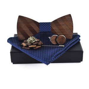 ZDJMEITRXDOOW Pocket square Brooch Gravata Tie Hanky Cufflink Sets Striped Wooden bow tie Ties for Mens-novahe