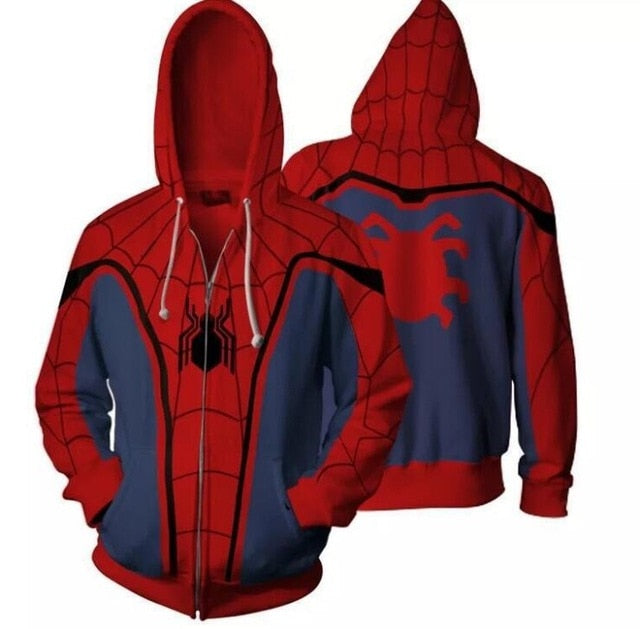 Infinity War Iron Spider Zip Up Hoodie Zipper Sweatshirt 3D Hoodies Sleeve Knitted Jackets Casual Sweatshirts Coats-novahe