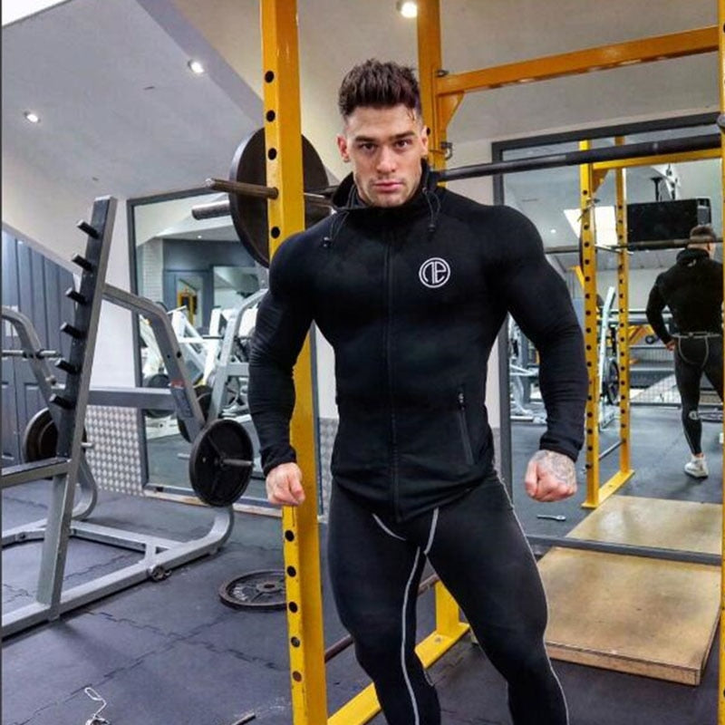 Muscle Fitness Men's Gyms Hooded Sweatshirt 2018 New Brand Autumn Bodybuilding Pure Color Long Sleeve Hoodies Zipper Clothes-novahe