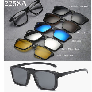 Belmon Spectacle Frame Men Women With 5 PCS Clip On Polarized Sunglasses Magnetic Glasses Male Myopia Computer Optical RS543-novahe