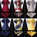 "Men Fashion Check 3.4"" Silk Woven Wedding Men Tie Necktie Handkerchief Set Pocket Square Classic Party Wedding #RC1-novahe"