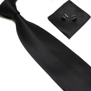 HOOYI 2018 solid color blue men's business neck tie set necktie hanky cufflinks-novahe