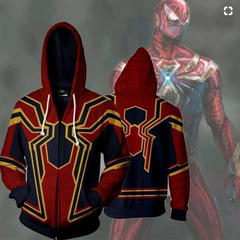 Marvel Movie Spiderman 3D Print Avengers 3 Infinite War Cos Super Hero Collection Hooded ZIP Hoodie Hoodie-novahe