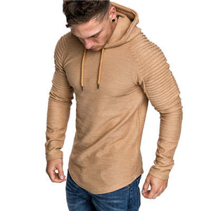 GustOmerD New Hoodies Man's Solid Color Slim Fit High Street Hooded Sweatshirt Stripe Fold Sportswear Mens-novahe
