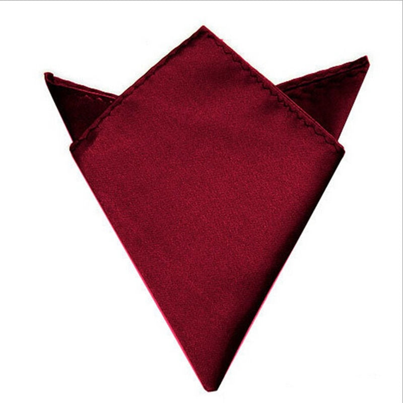 1pc Satin Silk Men's Pocket Square Hankerchief Hankie Wedding Formal Suit Blazer Jacket Accessories Black,White,Wine Red-novahe