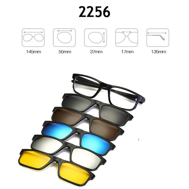 Fashion Eyeglasses Frames Men Women With 5 Clip On tr90 Sunglasses Polarized Magnetic Glasses Male Driving Spectacle Myopia sq01-novahe