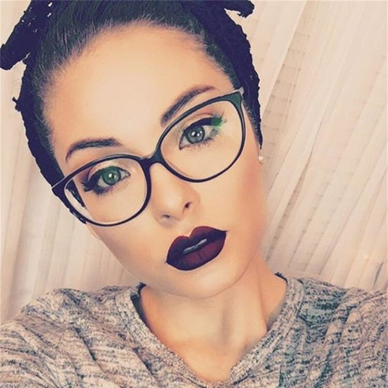 2018 New Cheap Women Cat Eye Glasses Transparent Spectacle Big Frames Can Be With Myopia clear Lenses Eyeglasses Retro Eyewear-novahe
