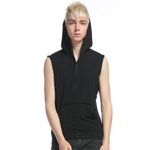 With Pockets Sleeveless Hoodies Men Zipper Up Off Shoulder Summer Sweatshirts 2017 Solid Hoodie Outwear Fashion Slim Top-novahe