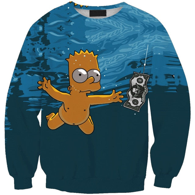 New arrival fashion Unisex Sweatshirt 3D The Simpson cartoon print simple Casual white relaxtion oversized Clothes Free shipping-novahe