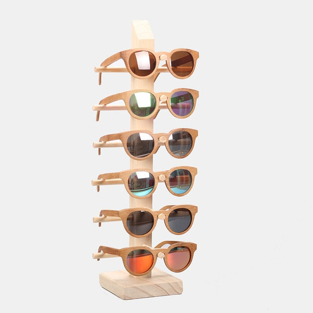 Angcen Multi Layer Wood Sunglass Display Rack Holder Shelf Eyeglasses Show Stand for 6 Pairs Glasses Showcase Eyeglasses Frames-novahe
