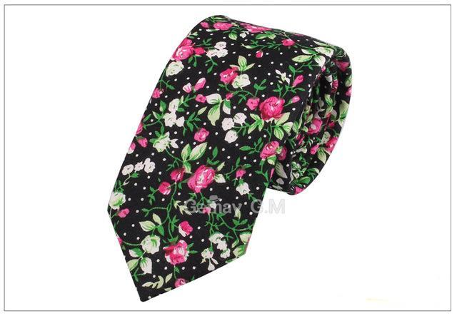 New Casual Cotton Neck Ties Floral Print Skinny Necktie For Men Colorful Mens Ties Business Tie Adult Cravat 6cm Slim Neckties-novahe