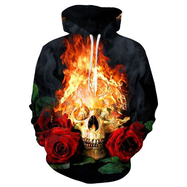 Blue/Red 3d Skull Hoodie Men Women Fashion Summer Autumn Sportswear Hip Hop Tracksuit Brand Hooded Sweatshirt Dropship-novahe