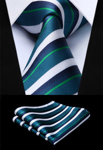 Woven Men Tie Green White Striped Necktie Handkerchief Set#TS720G8S Party Wedding Classic Fashion Pocket Square Tie-novahe