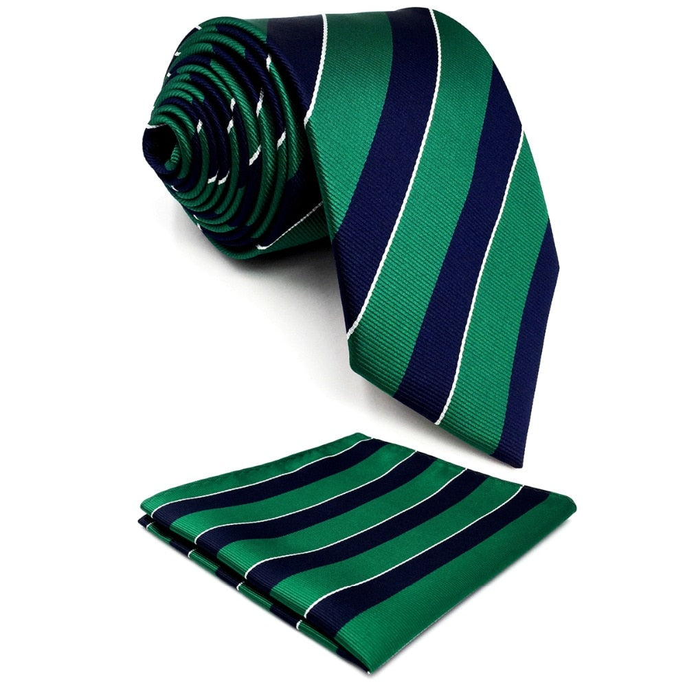 "Y27 Navy Green Striped Extra Long Size Men Ties Neckties Hankies 63""-novahe"