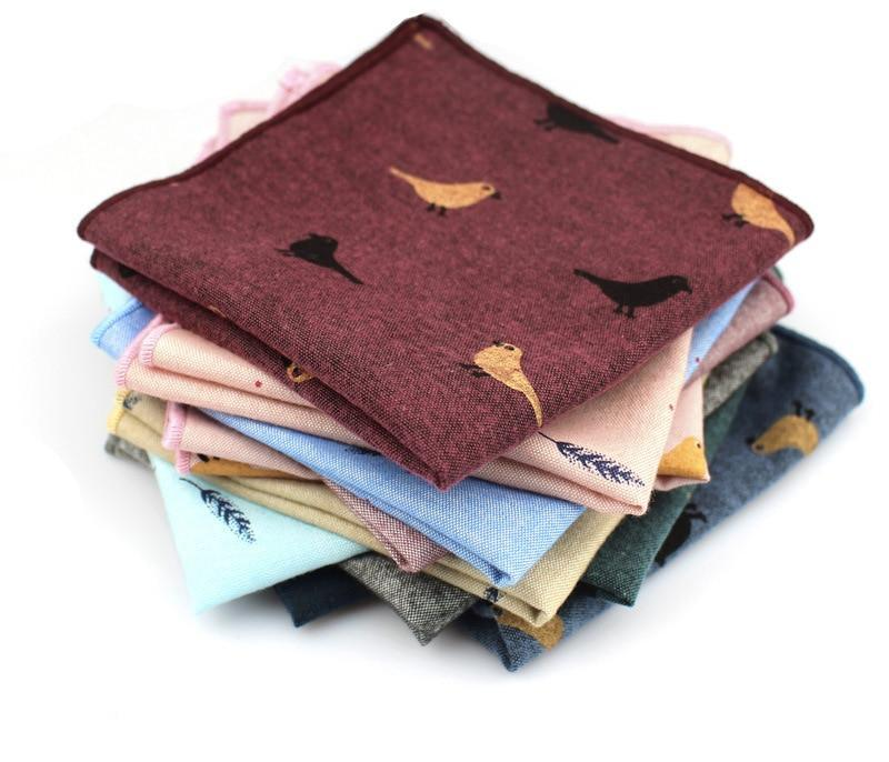 Adult Cotton Handkerchiefs Print Pattern Hanky for Men Business Casual Pockets Square Handkerchief 25cm Width Wedding Hankies-novahe