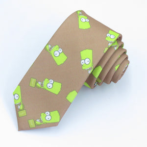 (1pcs/lot)Yellow Simpson pattern/Black and white dichromatic/popular cartoon tie Sunshine boy institute wind leisure trend-novahe