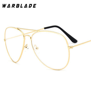 WarBLade Band Glasses Alloy Gold Frame Glasses Classic Optics Eyeglasses Transparent Clear Lens Women Men Fake Glasses Female-novahe