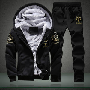 Winter Inner Fleece Hoodies Men 2018 Casual Hooded Warm Sweatshirts Male Thicken Tracksuit 2PC Jacket+Pant Men Moleton Masculino-novahe