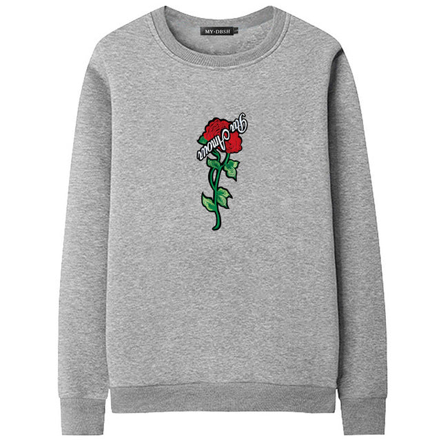 Hot Sale 2018 Brand Autumn Spring Hip Hop Pullover Sweatshirts Men High Quality Hoodie Fashion Rose printing mens hoodies Tops-novahe