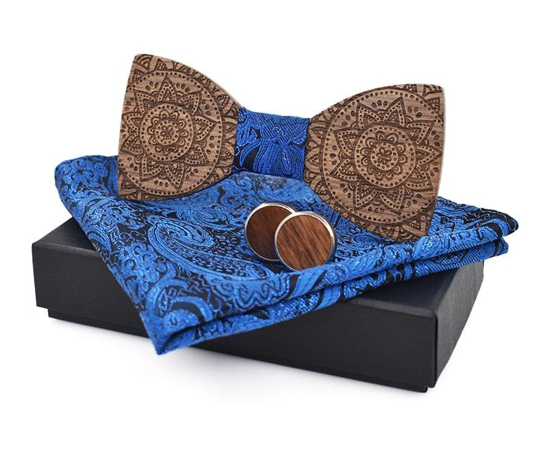 ZDJMEITRXDOOW Brand Fashion bow ties for men blue bowtie cufflinks pocket square tie set totem print ties cravat wood ties-novahe