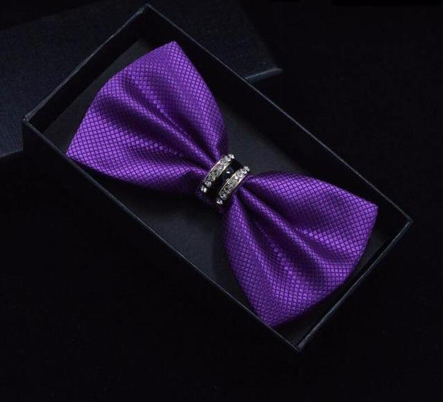 RBOCOTT Solid Plaid Bow Tie Metal Crystal Bowtie Red Black Blue White Purple Pink Bow Ties For Men Women Business Wedding No Box-novahe