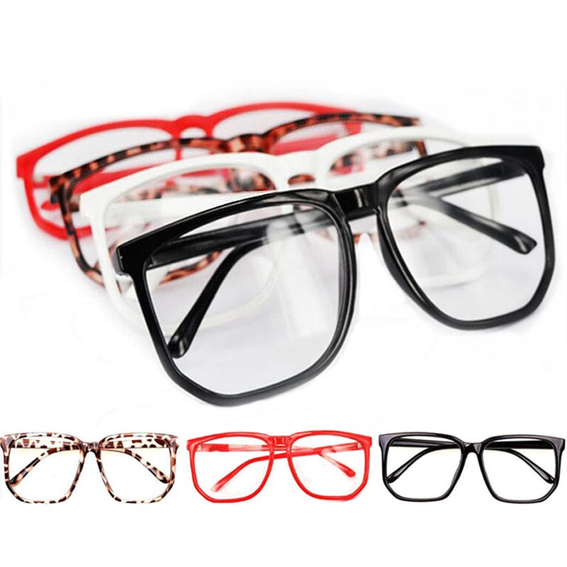 Unisex Fashion Eyeglasses Big Glasses Nerd Vintage Spectacles Lens Eyewear Top Oversized Clear Plain New Retro Geek-novahe