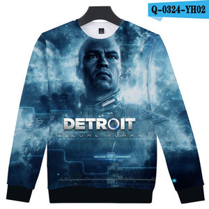 3D Detroit Become Human Hoodies Men's Harajuku Hip Hop Pullovers Punk Style Winter Capless Sweatshirts Hot Play Game Detroit-novahe