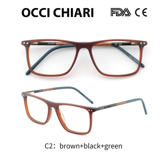 OCCI CHIARI Glasses Frame Eyeglasses Frames Men Gafas Acetate Male Fashionable Spectacle Frames Optical Glasses Black W-COSCO-novahe
