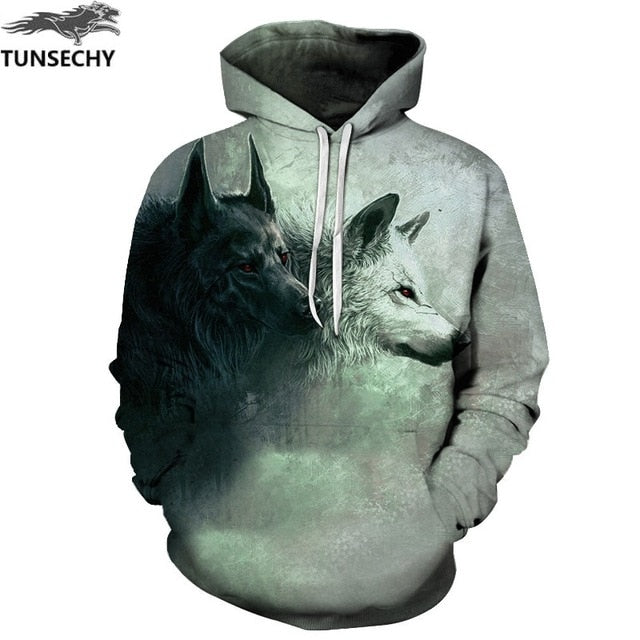 TUNSECHY Wolf Printed Hoodies Men 3D Hoodies Brand Sweatshirts Fashion Tracksuits Wholesale and retail Free transportation-novahe