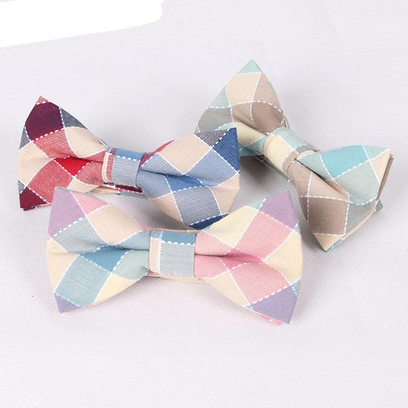 100% Cotton Mens Bow Tie Fashion Plaid Wedding Cravat Party Butterfly Ties Casual Business Men Bowties Free Shipping Cravate-novahe