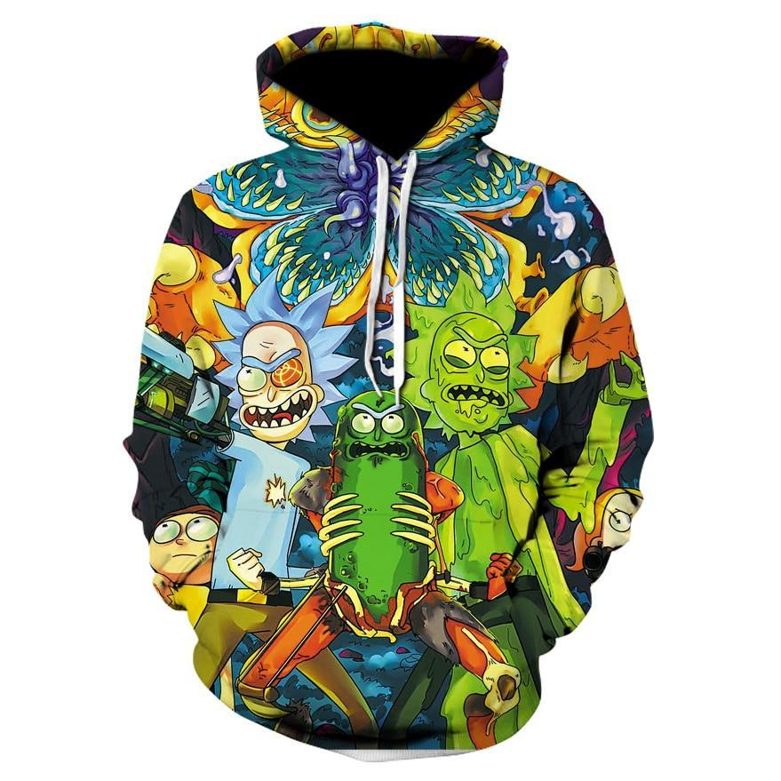 TUNSECHY Brand Cosmos 2018 Fashion Brand 3D hoodies cartoon rick and morty print Women/Men Hoody casual hooded sweatshirts-novahe