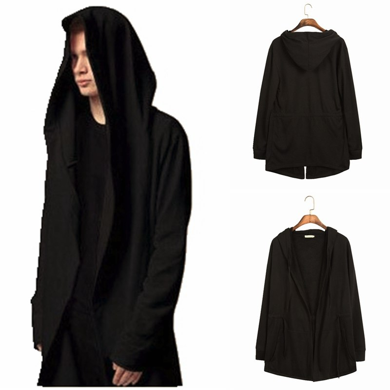 Men Hooded Sweatshirts With Black Gown Hip Hop Mantle Hoodies Fashion Jacket long Sleeves Cloak Man's Coats Outwear-novahe