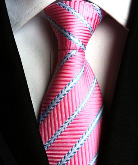 Fashionable New Classic Polka Dot Geometric Striped Checks Pink Blue Jacquard Woven 100% Silk Men's Tie Necktie LUC47-68-novahe