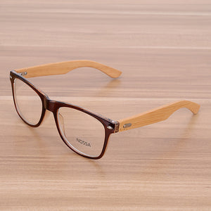 Oversized Glasses Frame Clear Lens Optical Frames Fake Eyeglasses Wooden Bamboo Black Leopard Eyewear Frames Spectacle Women Men-novahe