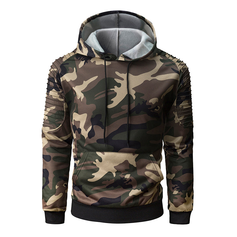 2018 hot men's hoodie personality pleated raglan sleeves camouflage hooded sweatshirt fashion casual men's hooded pullover-novahe