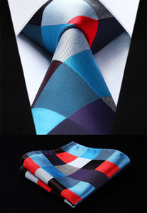 Woven Men Tie Fashion Red Blue Check Plaid Necktie Handkerchief Set#TC819M8S Party Wedding Classic Pocket Square Tie-novahe