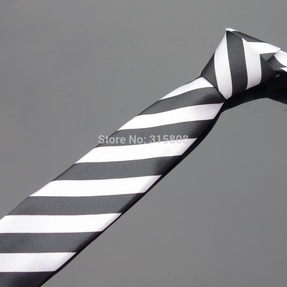 Ikepeibao Men's Skinny Ties Printed Narrow Tie Black White Wide Stripes tie for Business Wedding Holiday-novahe