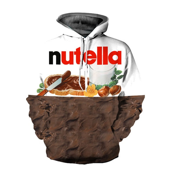 Ehuanhood New Fashion Men/Women 3d Hoodies Print Nutella Food Hip Hop Pullover Sweatshirt Casual Style Brand Tracksuits Tops-novahe