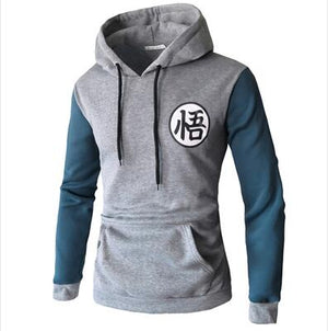 2018 autumn and winter new fortite men's long-sleeved hoodie stitching personality Goku print sweatshirt pullover large size-novahe