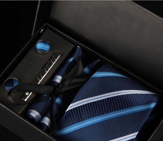 Choisitiny Brand 8cm Classic Men Tie Business Wedding Striped Tie For Man Gift Set Tie,Handkerchief,Cufflinks,Clips in 1 Box-novahe