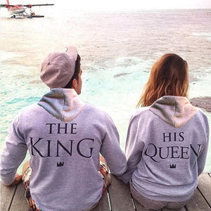 Top Quality COTTON love Couple women female Men Male anime streetwear Hoodie Sweatshirt KING QUEEN harajuku Hoody Jacket Coat-novahe