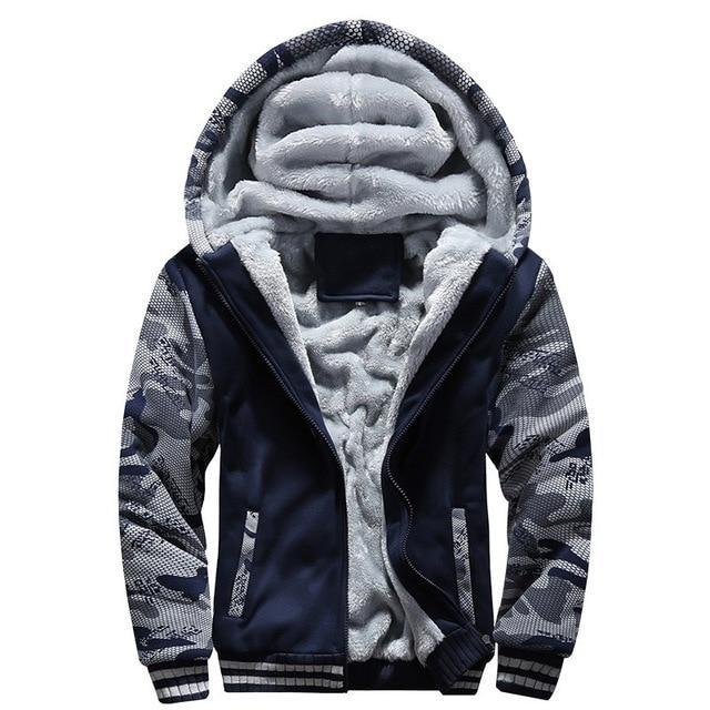 Winter Sweatshirt Men Hoodie Male Coat Hooded Brand Casual Zipper Thicken Velvet moleton Man Tracksuit Jackets Parkas Inner Wool-novahe