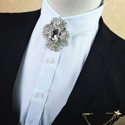 Free shipping New fashion Korean men's male man diamond metal tie groom wedding dress collar exclusive tie star Brooch set-novahe