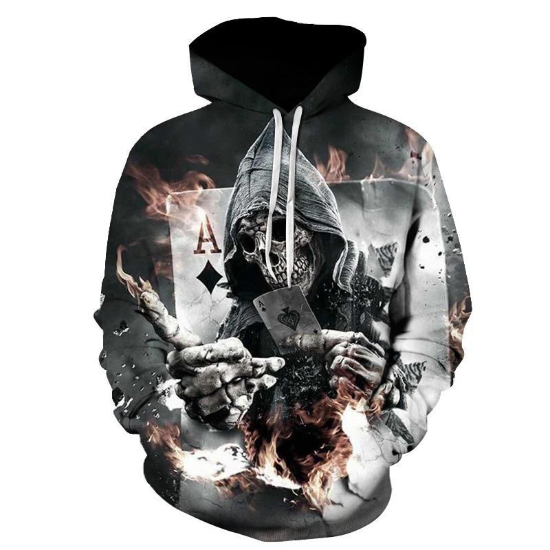 Skull Poker Hoodies Sweatshirts Men Women 3D Pullover Funny Rock Tracksuits Hooded Male Hoodie Fashion Casual Outwear Winter-novahe