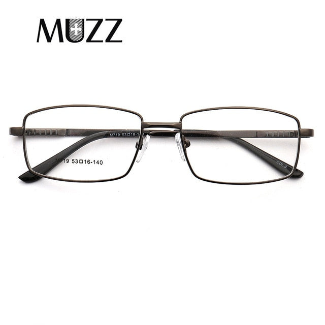 83fabea96355 MUZZ Gold Glasses Frame Men Business alloy Rim Eyeglasses for Male Myopia  Prescription Customized Lens Commercial